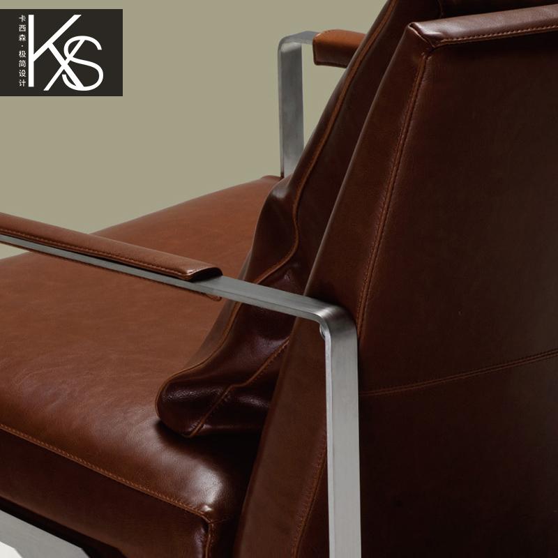 卡西森简约现代休闲椅阳台客厅沙发椅不锈钢休闲椅设计师接待椅子