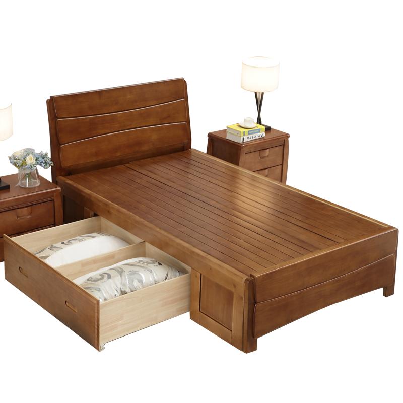 1米2全实木35收纳1.35气压高箱储物5单人床小户型1.2家用一二五宽