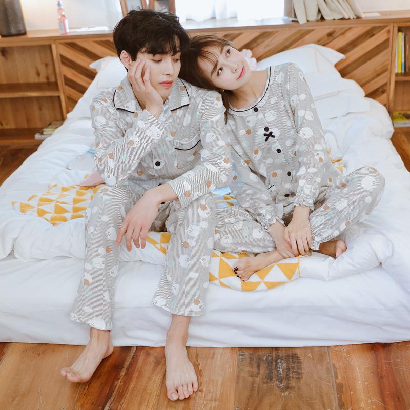 情侣睡衣女秋长袖纯棉两件套薄款韩版清新学生秋季男士家居服套装