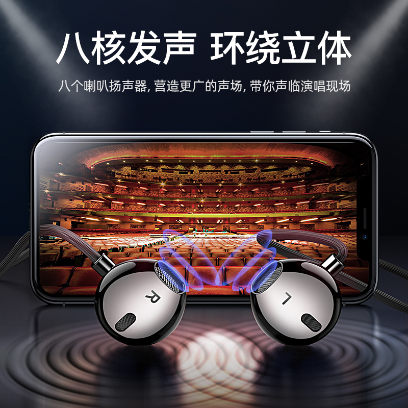 摩斯维 耳机入耳式有线typec圆孔高音质适用小米vivo华为oppo手机电脑超重低音安卓全民K歌游戏专用半原装11