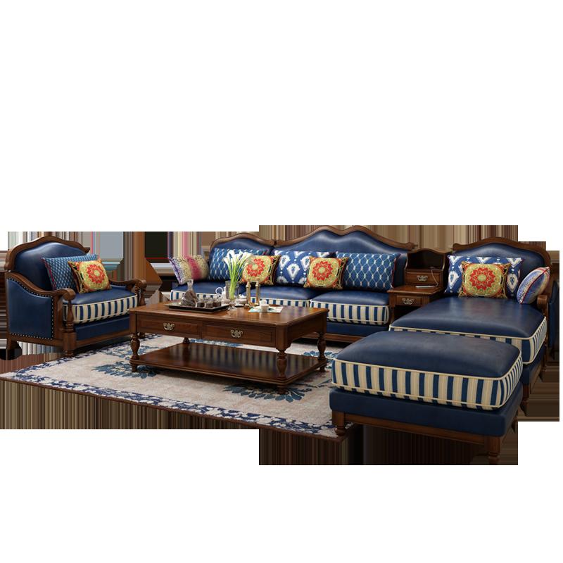 标爵美式沙发客厅实木真皮组合欧式轻奢小户型皮沙发乡村风格家具