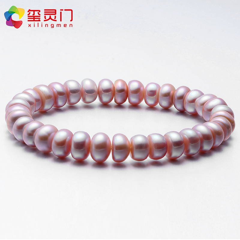 淡水珍珠手链女士白色粉色紫色手饰送妈妈礼物 9mm 8 强光饱满扁圆
