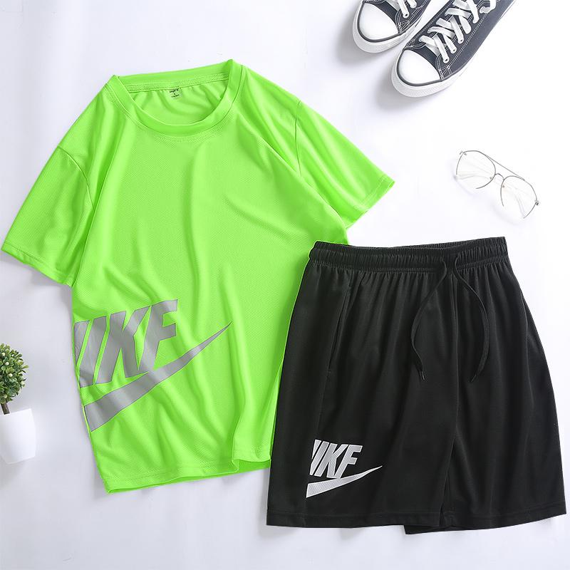 短裤短袖运动套装男夏季宽松舒适速干T恤跑步休闲运动服两件套潮【图6】