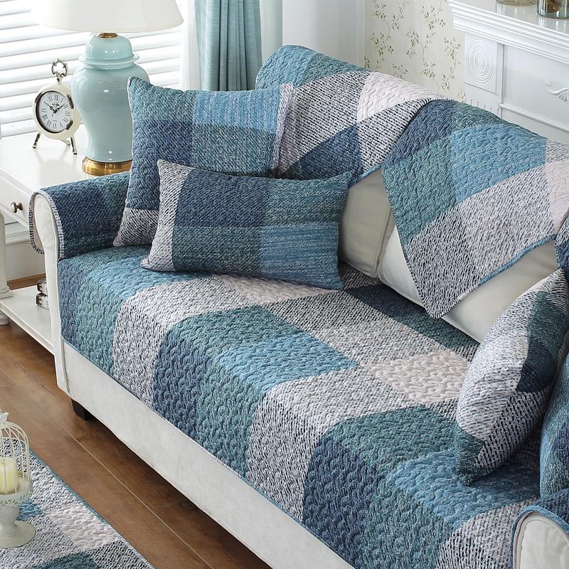 现代简约夏季沙发垫布艺全棉四季通用防滑坐垫子套罩靠背巾全盖布
