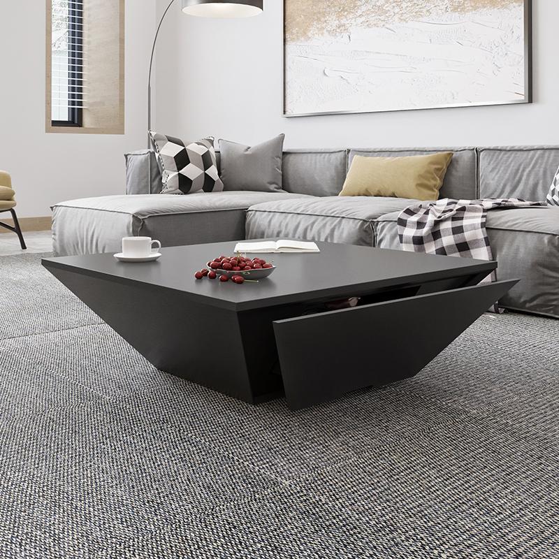 北歐創意造型異形茶几簡約設計師黑色客廳傢俱現代個性正方形茶几