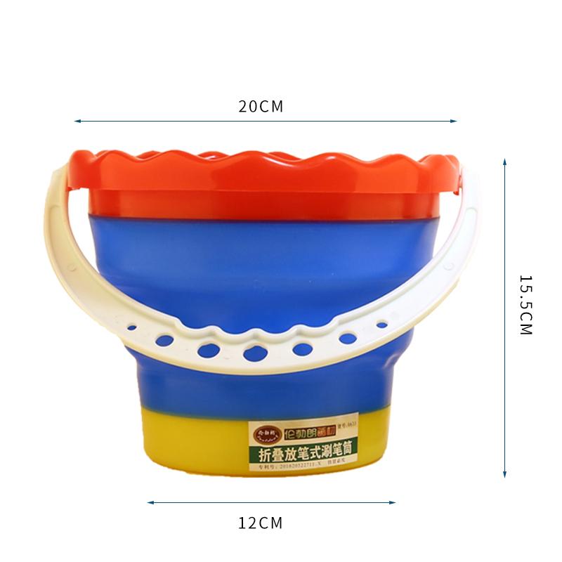 可放笔 折叠圆型硅胶洗水桶 水粉颜料水筒 便携伸缩洗笔桶 美术用