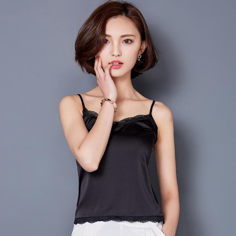 吊带背心女秋季白色打底衫短款小背心性感内搭女蕾丝外穿小吊带衫