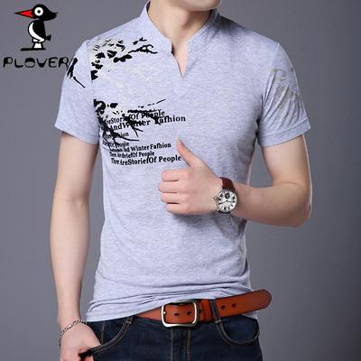 Plover 短袖t恤男士夏季新款V领针织衫上衣青年潮流修身体恤男