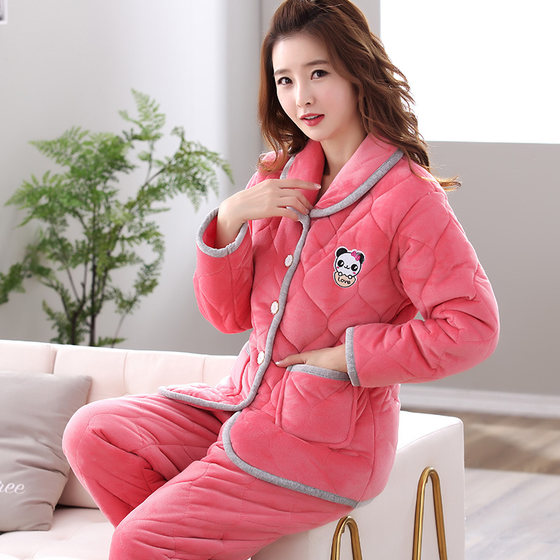 Ms. Triple Thick Velvet Pajamas Winter Coral Velvet Quilted Outerwear Warm Autumn And Winter Home Service Package