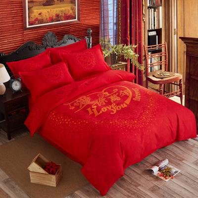婚庆四件套全棉大红被套色双人1.8m米2.0m床喜庆磨毛床单结婚红色