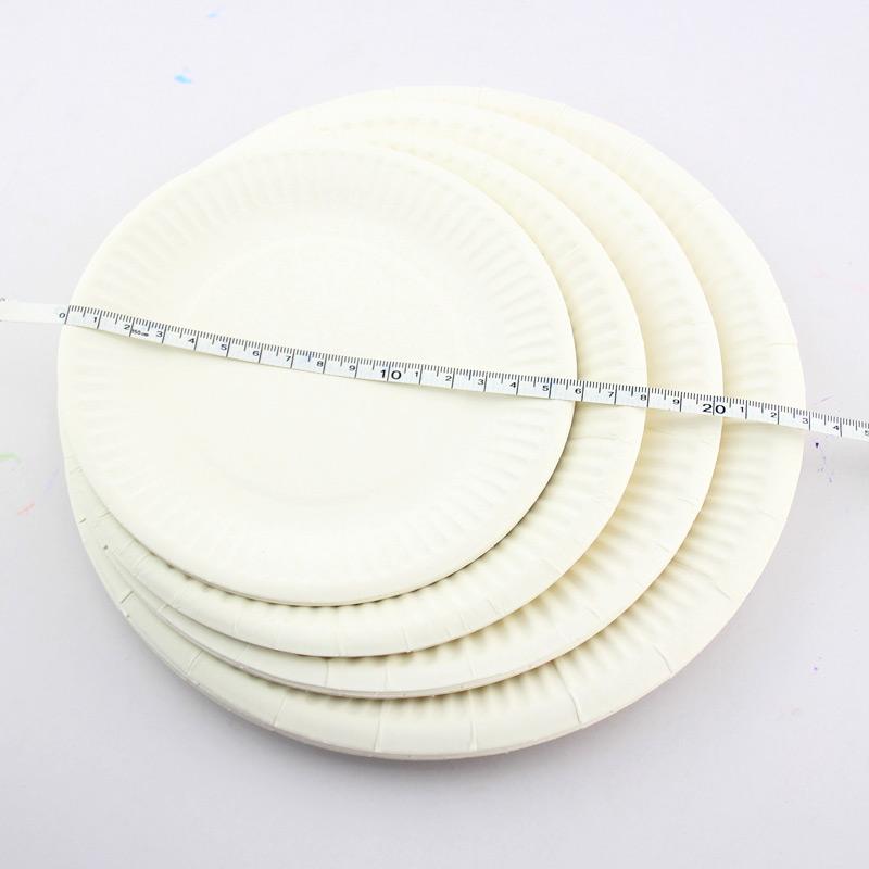 白色纸盘子10个装 儿童手工绘画涂鸦粘贴纸盘 幼儿园DIY装饰材料