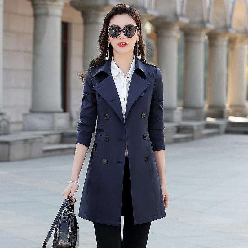 中长款风衣女装2021春装新款外套显瘦矮个子修身春秋季韩版收腰小主图