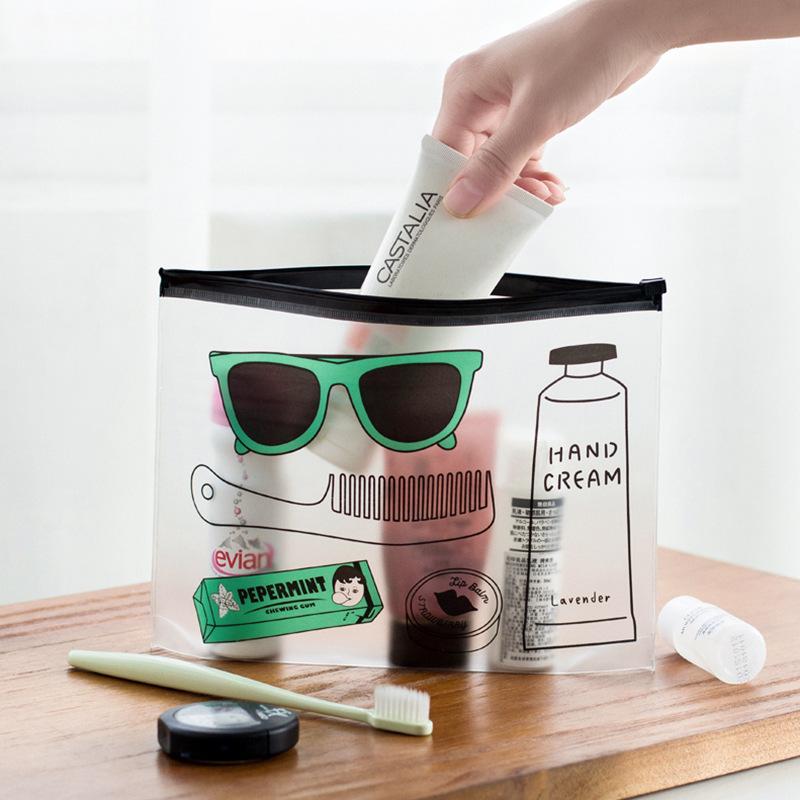 创意学生眼镜美女文具袋 笔袋 磨砂透明卡通化妆包 收纳袋 文件袋