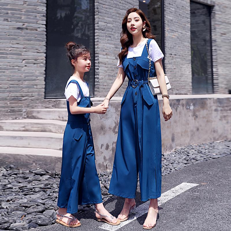 抖音亲子装连体裤短袖套装 夏季新款潮母女装洋气时尚网红夏装  2020