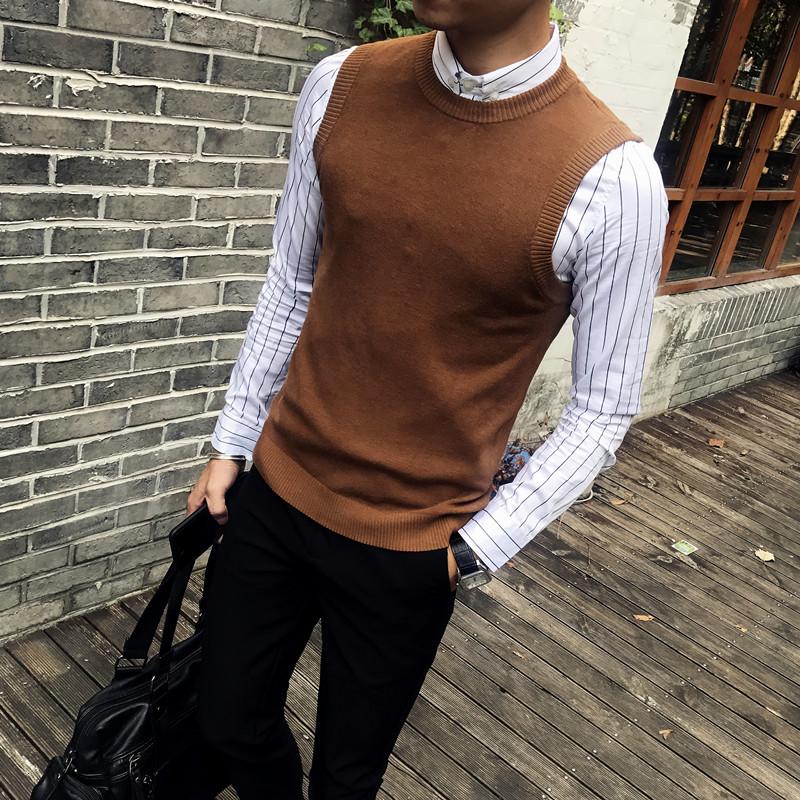 秋季男士韩版修身无袖毛衣背心学院青年打底针织衫男圆领马甲坎肩