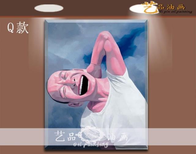 岳敏君人物手繪油畫開懷大笑大嘴巴笑臉定制裝飾畫抽象餐廳無框畫
