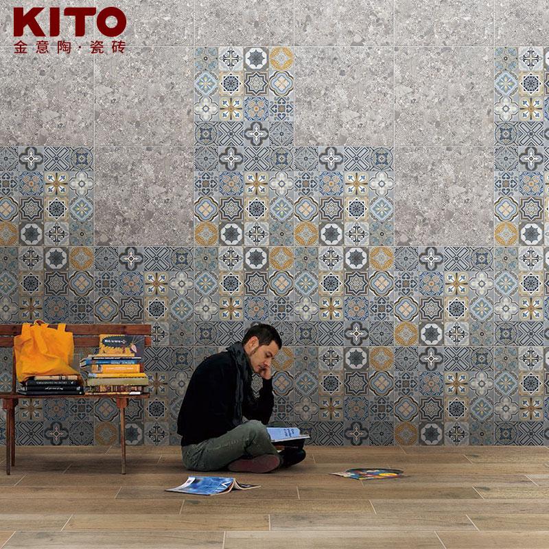 金意陶瓷砖花片 客厅阳台地砖花砖 仿古砖墙砖地板砖 情迷地中海