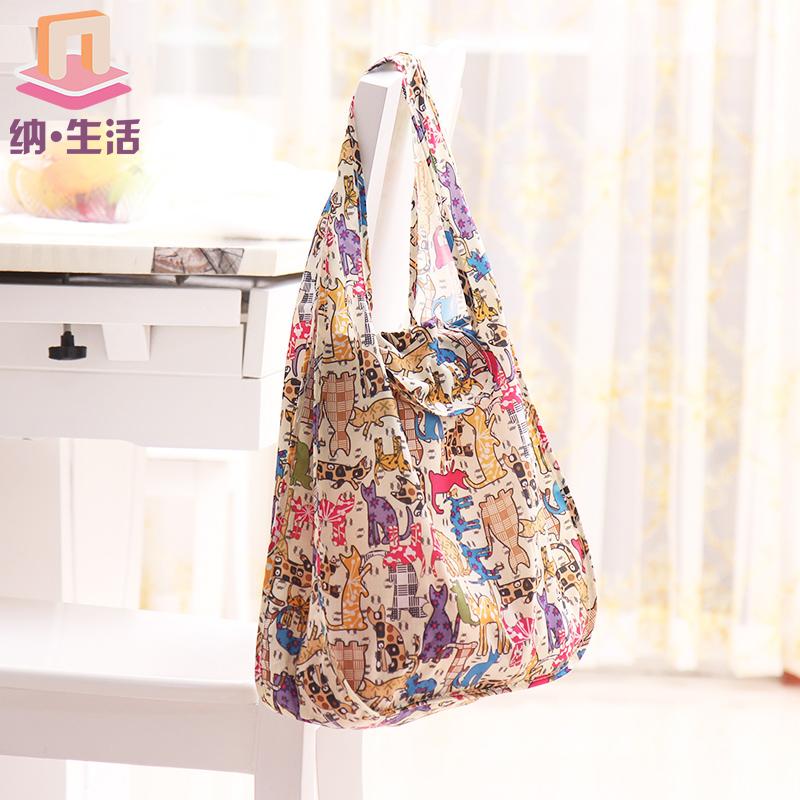 轻便可折叠环保购物袋 便携手提超市买菜包女 日本大号防水牛津布