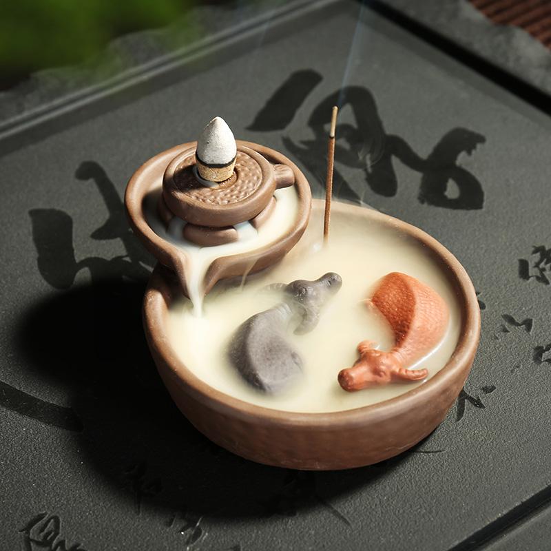 茶宠摆件精品可养紫砂倒流香炉可爱变色金蝉小和尚喷水茶玩