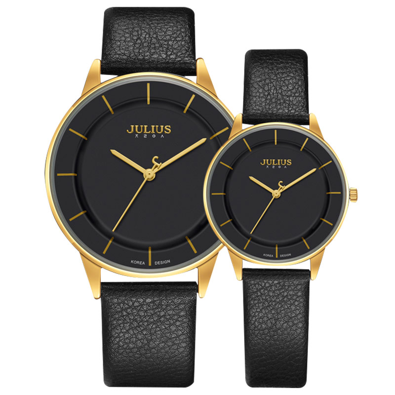 聚利时情侣手表一对手表女韩版简约时尚潮流防水真皮带女士手表