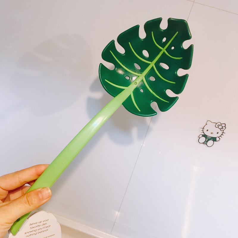 出口创意JungleSpoon绿叶子漏勺龟背叶勺子捞面勺调羹漏勺包邮