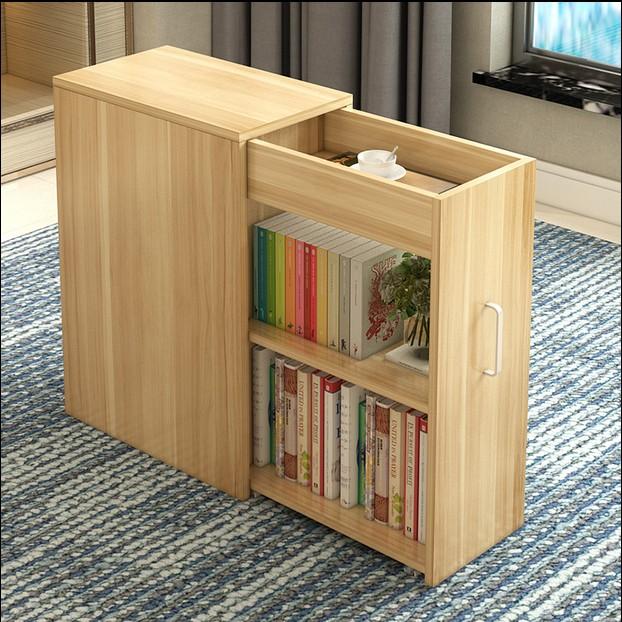 簡約現代移動帶門小書櫃簡易書架收納櫃子陽臺儲物櫃小戶型置物櫃