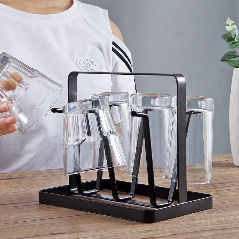 优思居铁艺杯子收纳架杯子架家用玻璃杯置物架水杯挂架杯架沥水架