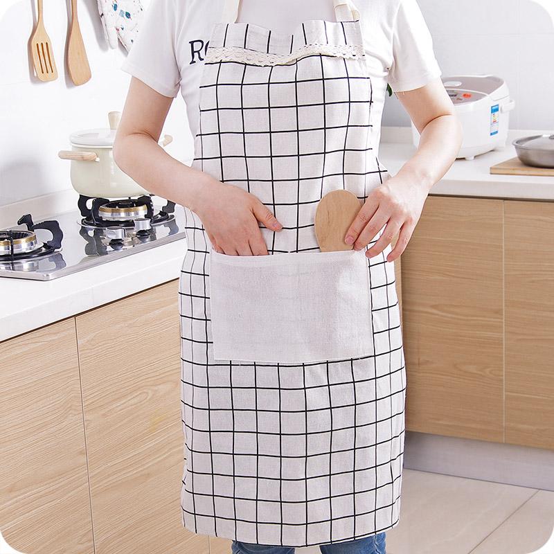 优思居 韩版时尚家居棉麻围裙 成人男女厨房做饭防油罩衣防污围腰