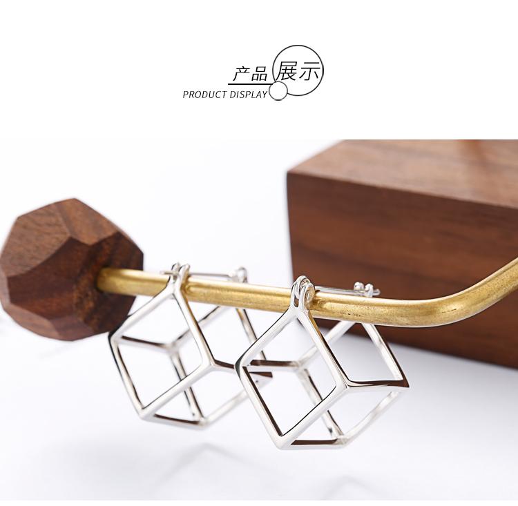 纯银立方体镂空耳钉女韩国个姓创意几何方形耳环简约学生耳饰 S925