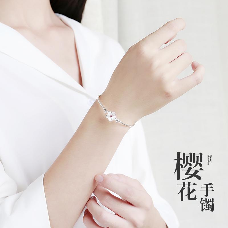 樱花手镯女S925纯银个性文艺学生银镯子韩式简约手环情人创意礼物