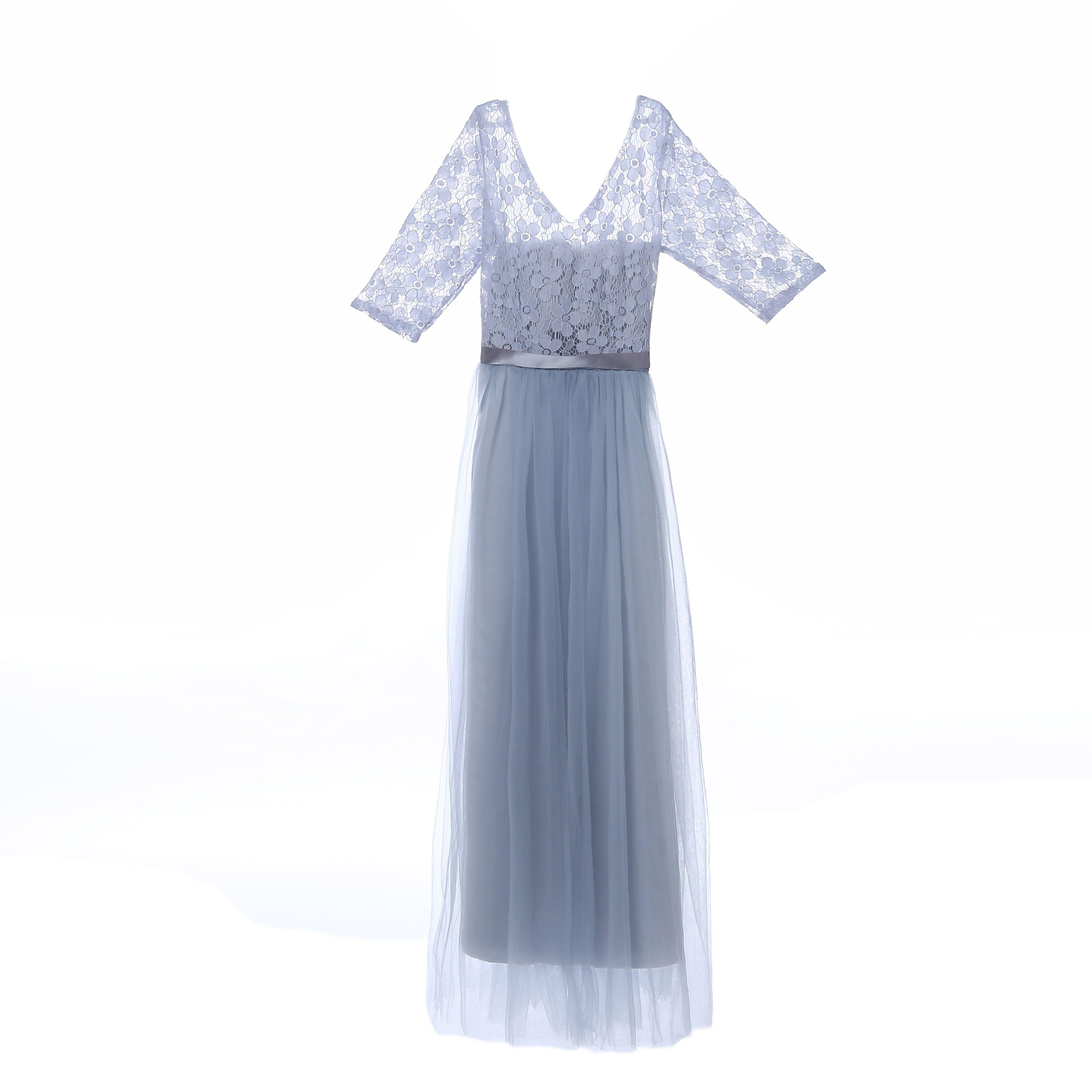 伴娘服长款2018新款秋冬伴娘团礼服灰色修身姐妹裙显瘦毕业晚礼服