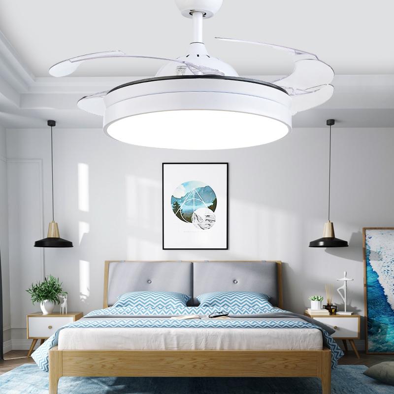 北欧吊扇灯风扇灯餐厅隐形扇简约客厅风扇吊灯卧室黑色电风扇灯