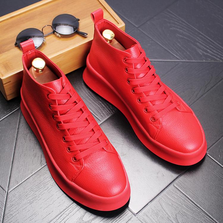 高帮厚底男鞋夏季小白鞋韩版厚低休闲鞋中帮短靴增高乐福鞋男皮鞋