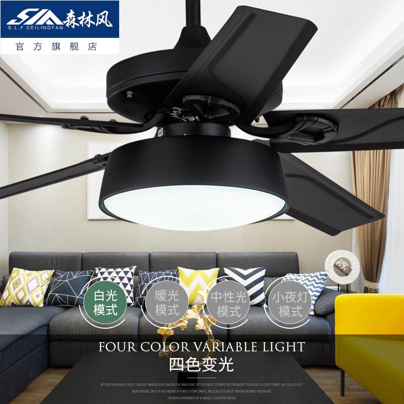 森林风黑色铁叶客厅电风扇灯 餐厅吊扇灯 美式负离子灯扇电扇灯