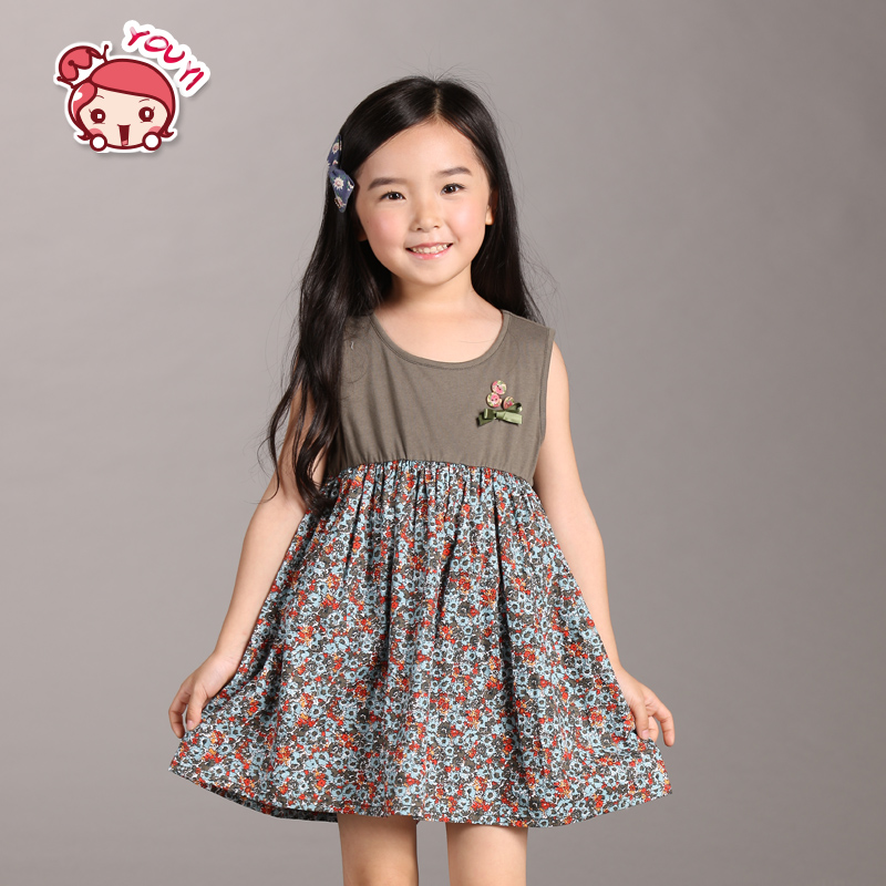 c14692b7d4583 Buy Korean girls dress without sleeves in summer girls small girls ...