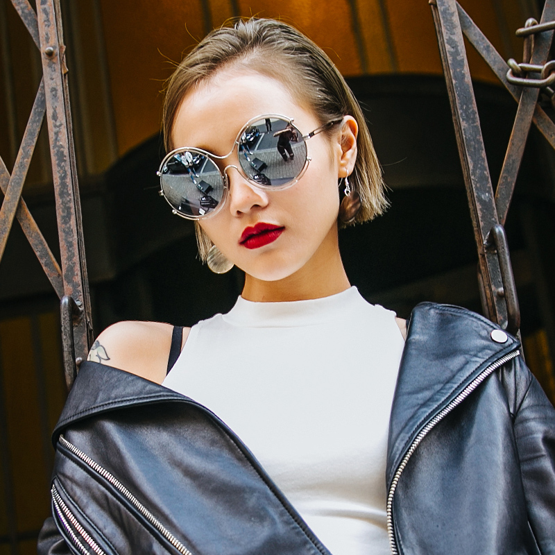 7135bbe0ce4 2016 korean version of personality hollow metal sunglasses large frame  sunglasses influx of people money double circle round frame sunglasses  female ...