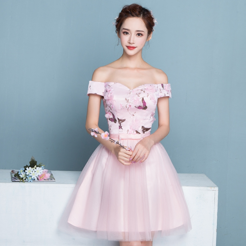 32e266681a63 Buy 2016 new banquet bridesmaid dress birthday party dress pink dress short  paragraph korean sisters skirt dress in summer and autumn in Cheap Price on  ...