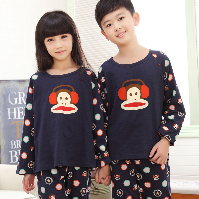 2016 spring and autumn quality cotton pajamas long sleeve pajamas for  children big boy boys girls small children tracksuit suit e418fd82c