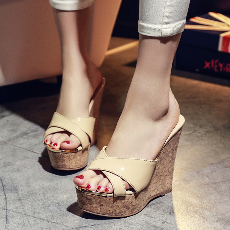 419c2711f 2016 summer korean version of the slope with thick crust leather sandals  and slippers female super high heels waterproof women slippers sets a word  sandals ...
