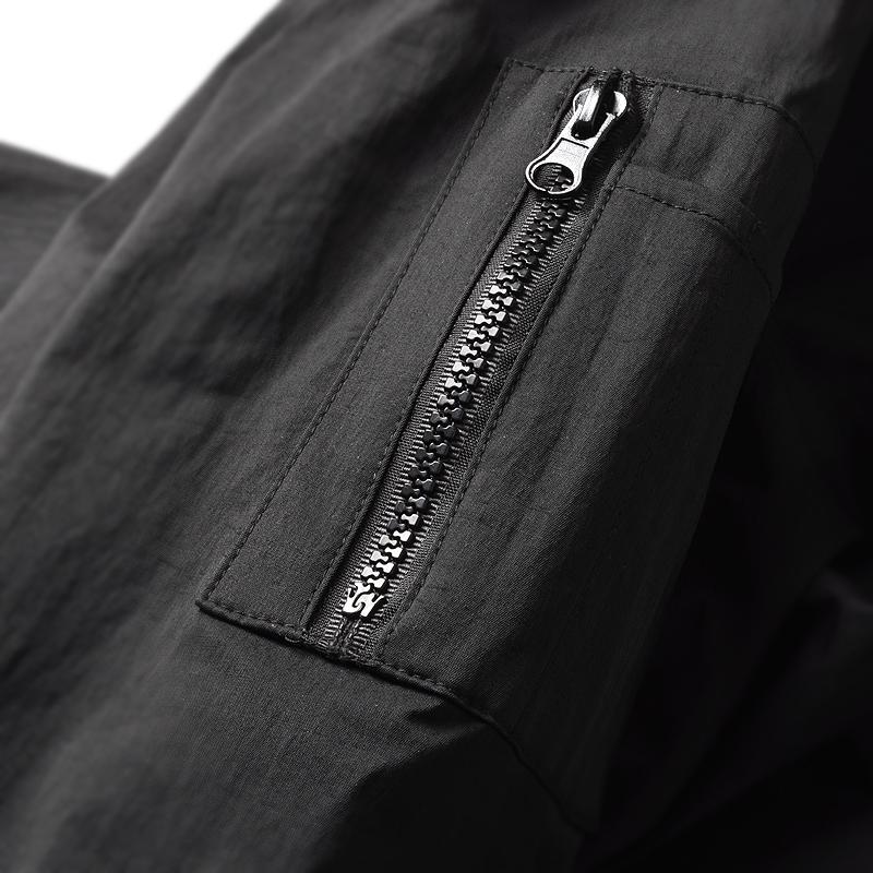 春秋季男士短款棒球领夹克衫 黑白纯色加大码男装外套 空军飞行服
