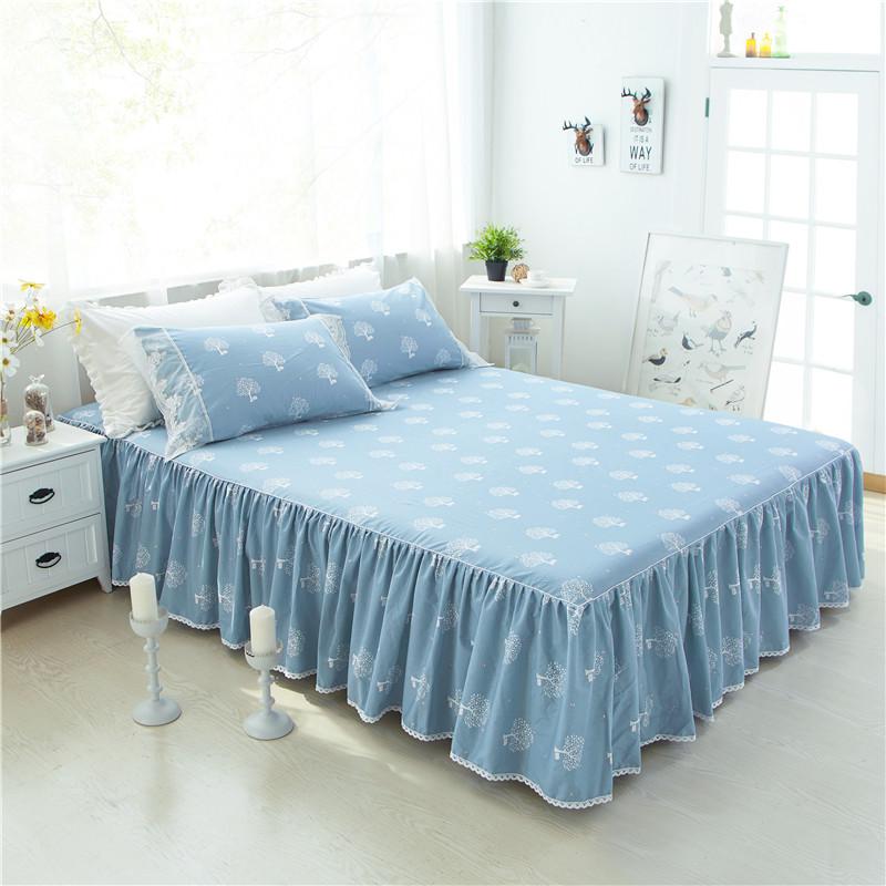 全棉韩版床裙1.5m单件床罩式1.8米床盖2m田园风可定制搭配四件套