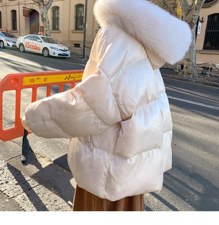 2019冬新款棉衣女宽松中长款大毛领韩版加厚时尚外套羽绒棉服