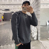 2019 autumn and winter sweater coat sweater male sports and fitness new hole round neck cultivating wild solid color T-shirt