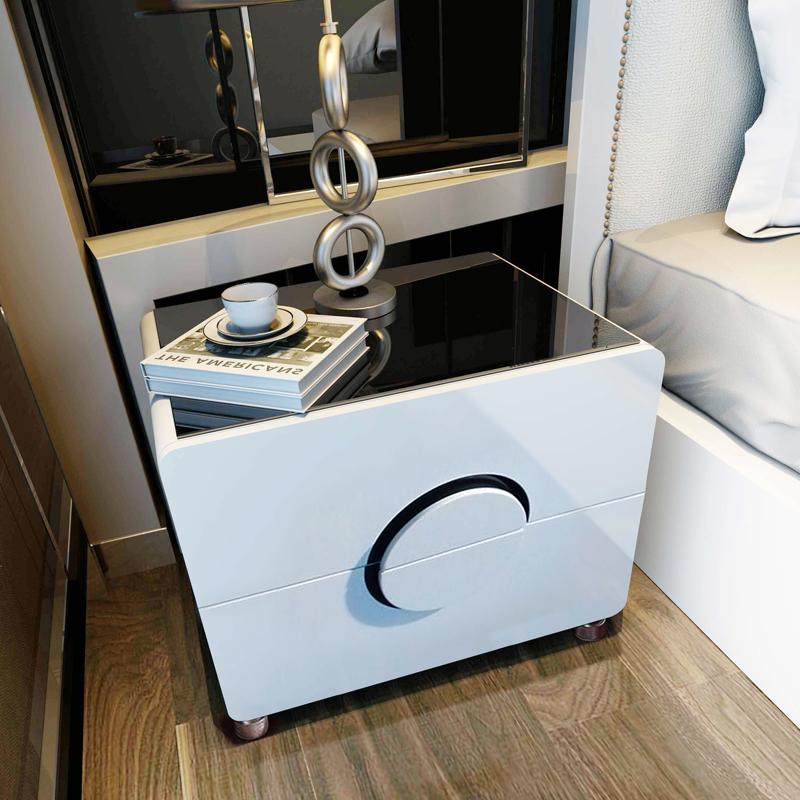 床头柜简约现代卧室储物收纳柜子组装边柜白色烤漆床头柜整装迷你