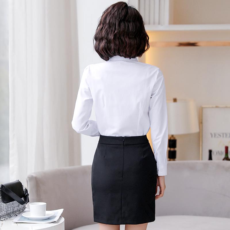 春夏季新款职业正装  领上衣寸工作服长袖衬衣 v 白色短袖衬衫女 2019