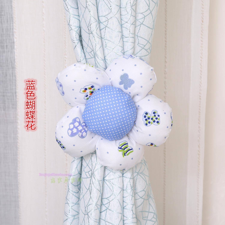布艺窗帘绑带 窗帘夹 太阳花窗帘扣蕾丝 捆绑花 门帘绑带(单个)