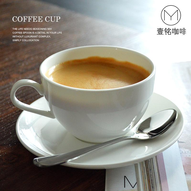 簡約骨瓷咖啡杯定製純白歐式杯碟意式拿鐵拉花陶瓷小奢華茶杯雀巢