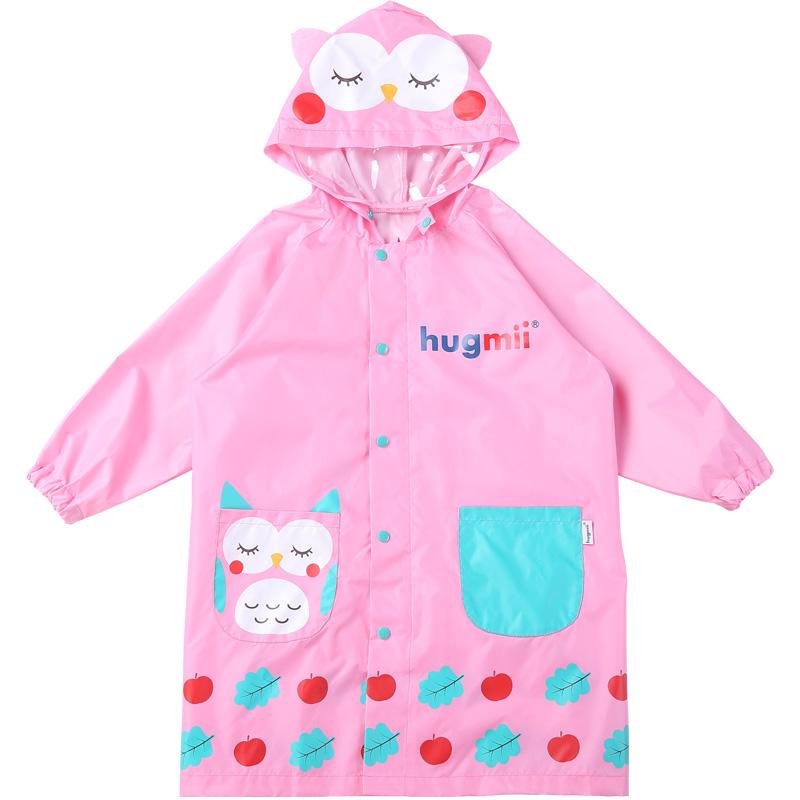 hugmii儿童雨衣男童女童雨衣透气小孩宝宝雨披带书包位学生雨衣