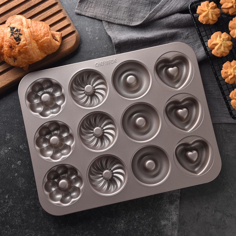 12連蛋糕模具烘焙不粘甜甜圈模具烤箱家用小蛋糕紙杯卡通模具烤盤