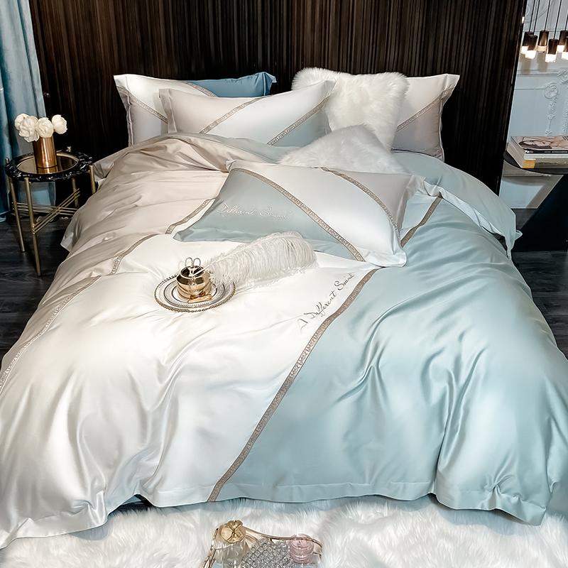 冰丝欧式裸睡床单被套床上用品